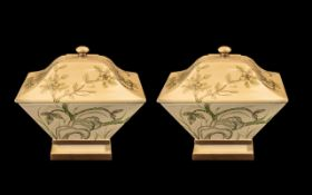 Pair of Large Square Lidded Dishes in cream, decorated with painted butterflies and flowers,
