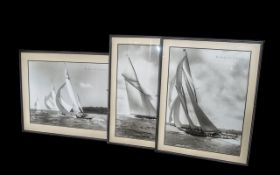 Three Large Contemporary Framed Seascapes depicting yachts. Framed and mounted behind glass.