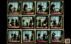 Photographic Interest: Rare Boxed Set of Twelve Magic Lantern Slides 'The Indcol Coloured Optical