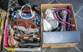 Two Boxes Containing 19 Assorted Handbags to include vintage specimen skins leather bag,
