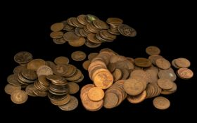 Three Bags of Old British Pennies and Halfpennies; worn condition