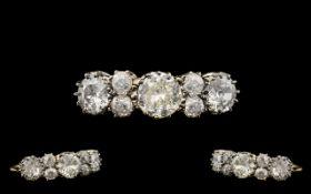 Ladies 18ct Gold & Platinum Attractive Antique Period Diamond Set Dress Ring. Marked to interior