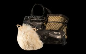 Collection of Fashion Bags comprising a Gucci style shoulder bag, a cream Mongolian fur bag,