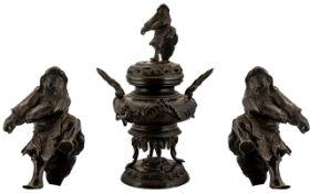 Large Japanese Meiji Period Cast Bronze Lidded Incense Burner, mounted on four elephant shaped legs;