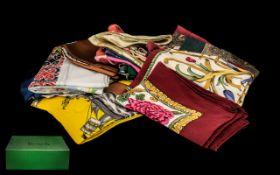 Harrods Box containing 22 scarves 13 silk including Jacqmar, Diana Hand, Ascot, Charvet, etc.