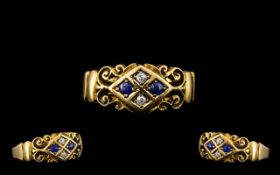Edwardian Period Attractive Diamond and Sapphire Set Ring, the ornate setting of excellent design,
