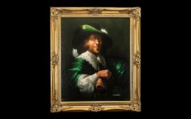 Fine Quality Oil Painting on Canvas of a 17thC Gentleman in a vivid green coat and hat, in the