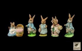 Beswick Beatrix Potter Figures five (5) in total. 1. Mrs Rabbit small size, umbrella moulded to