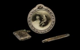 Three Silver Items, all fully hallmarked, comprising photo frame, penknife and vesta case - please