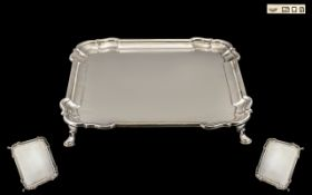 Excellent Quality 1920s Sterling Silver Square Shaped Footed Tray of excellent proportions and