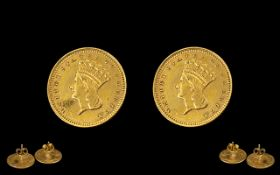 United States Pair of 22ct Gold Indian Head One Dollar Coins dated 1862 made into a pair of earrings