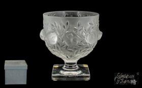 Lalique Superb Quality Moulded Crystal 'Elizabeth' Vase, sitting on a square shaped base,