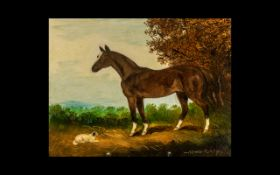 Oil on Board Depicting a Horse and Dog - signed Henry Percy to the bottom right. 9 x 7 inches.