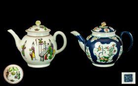 Dr Wall First Period Worcester Underglaze Blue Kakiemon Pattern Teapot with underglaze Chinese