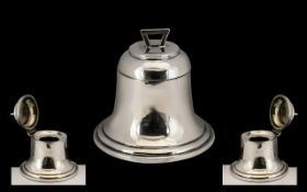 Edwardian Period Striking Novelty Sterling Silver Capstan Inkwell in the form of a large bell,