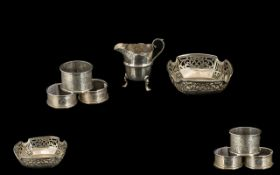 Miscellaneous Lot of Silver Items comprising three silver napkin rings, pair of bon-bon dishes,