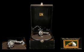 His Master's Voice Top Quality 1930s Classic Model 101 Portable Gramophone in excellent condition,