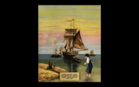 19th Century Oil Painting 'Jersey Coastal Scene' by Sarah Louisa Kilpack (1839-1909) depicting a