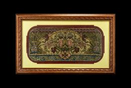 Victorian Beadwork Picture depicting vases of flowers amongst foliage borders, framed and glazed,