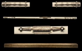 Fine Quality Victorian Conductor's Silver Mounted Ivory Baton, engraved to attached cartouche '