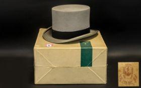 Grey Top Hat: Moss Bros of Covent Garden; in original card box