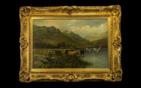 Douglas Cameron - Victorian Oil Painting on Canvas depicting Highland Cattle at a loch's edge,