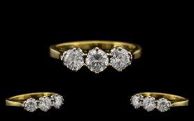 18ct Gold Attractive Three Stone Diamond Ring, the three modern, brilliant cut diamonds of excellent