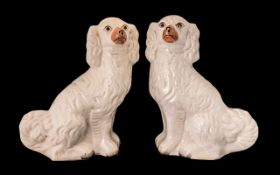 """Pair of Staffordshire Dogs in white, 14"""" tall. Please see images."""