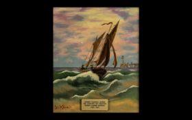 19th Century Oil Painting 'Jersey Coastal Scene' by Sarah Louisa Kilpack (1839-1909). Painting