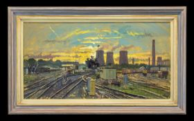 Ian Cryer British Artist Original Oil On Canvas Titled 'Didcot Power Station Dusk' with adjoining