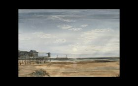 Watercolour Painting of Beach and Pier Scene, signed at bottom by Eric Wheelhouse, and unframed,