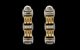 Bueche Girod Attractive Contemporary 9ct Two Tone Gold Diamond Set Pair of Drop Earrings of solid