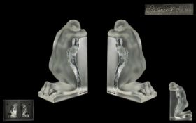 Lalique Paris Superb Quality Large Pair of Impressed Art Glass Figural Bookends in the form of two