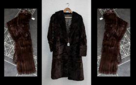 Ladies Dark Brown Full Length Fur Coat.