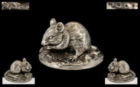 Good Quality Signed Sterling Silver Figure of a Field Mouse - Eating, marked 925 silver,
