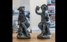 Bromsgrove Guild of Craftsmen Birmingham School of Art Pair of Lead Cherubs emblematic of The Four
