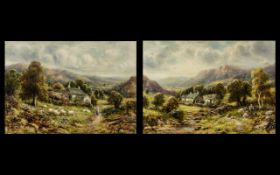 R J Hammond - Pair of Oil Paintings on Canvas depicting country scenes with figures in landscapes,