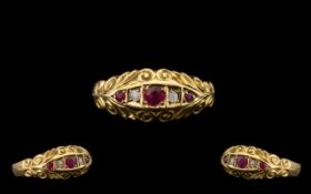 Edwardian Period Attractive Ruby and Diamond Set Ring with excellent ornate setting and colour;