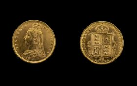 Queen Victoria Shield Back Jubilee Head 22ct Gold Half Sovereign, dated 1892, of high grade,