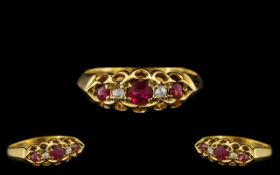 Antique Period Attractive 18ct Gold Ruby and Diamond Set Ring, excellent gallery setting/design,