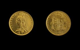 Queen Victoria Shield Back Jubilee Head 22ct Gold Half Sovereign, dated 1887, of high grade,