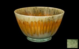 Ruskin Pleasing Drip Glaze Footed Bowl 1931, in orange and green; impressed Ruskin and 1931 date