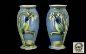 Midwinter Porcelain Fine Pair of Lustre Vases, c1932-1939, decorated with painted images of