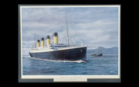 A Pencil Signed Limited Edtion Print by A Bauwens of the Titanic. Pencil signed to margin.