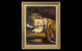 Small Oil Painting on Canvas Stuck to Board, of a young boy, fallen asleep whilst studying; framed,