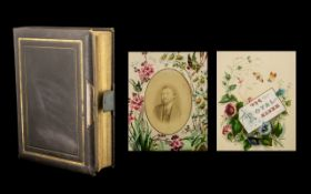 Victorian Period Leather Bound Photo Album, each page with coloured images of exotic flowers;