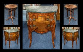 A French Style Bombe Shaped Mid to Late 20th Century Commode marvel top above two drawers raised
