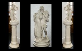 Late Victorian Plaster Figure Group of 'The Lovers' after the painting by Frederick, Lord Leighton,