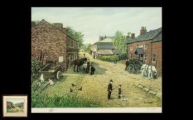 A Pencil Signed Limited Edition Tom Dodson Print untitled. 778/850. Depicting a village blacksmith.