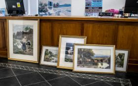 Collection of Eight Framed and Glazed Coloured Prints comprising three after Birket Foster,